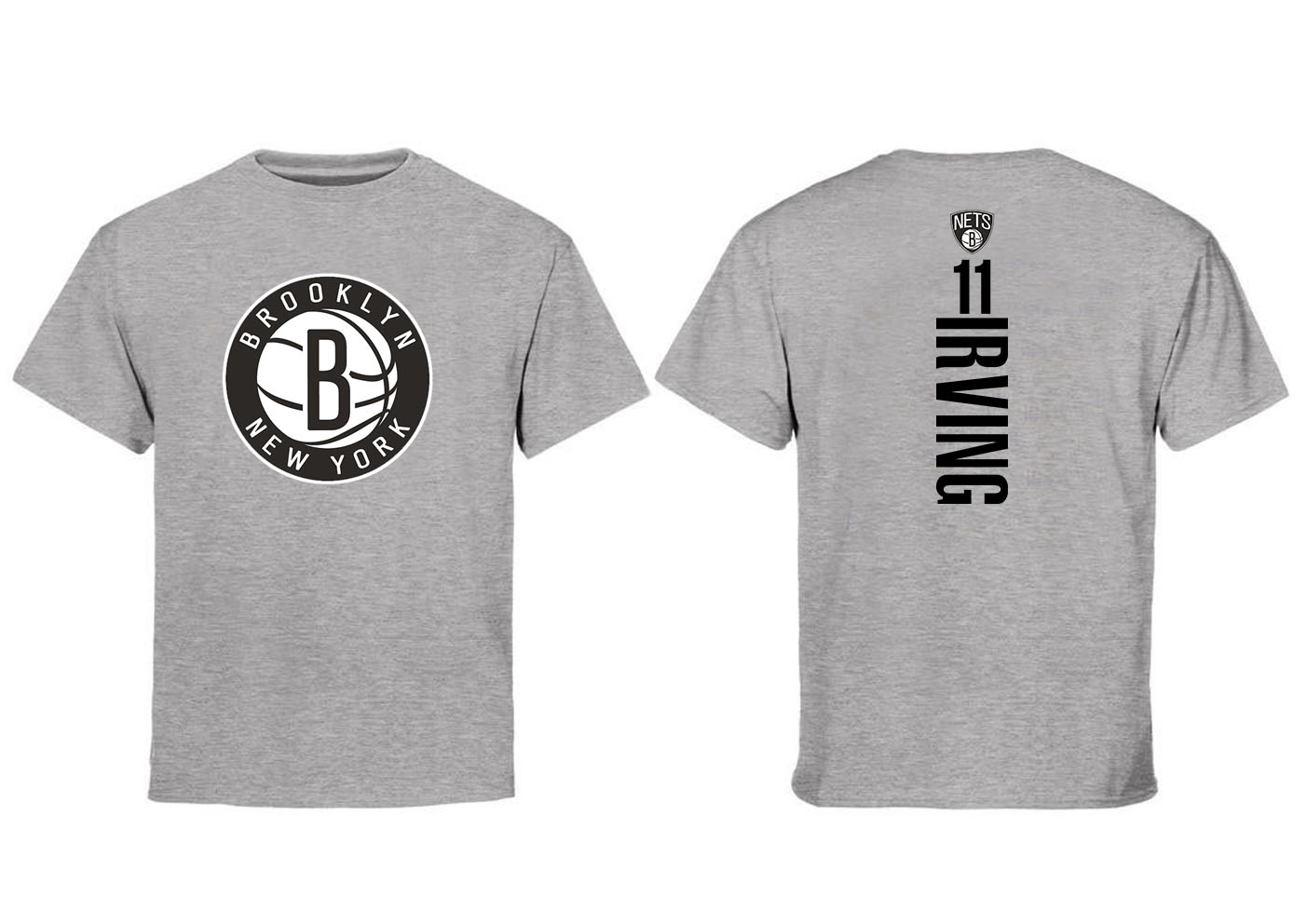Brooklyn Nets 11 Kyrie Irving Gray T-Shirt
