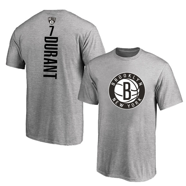 Brooklyn Nets 7 Kevin Durant Gray T-Shirt