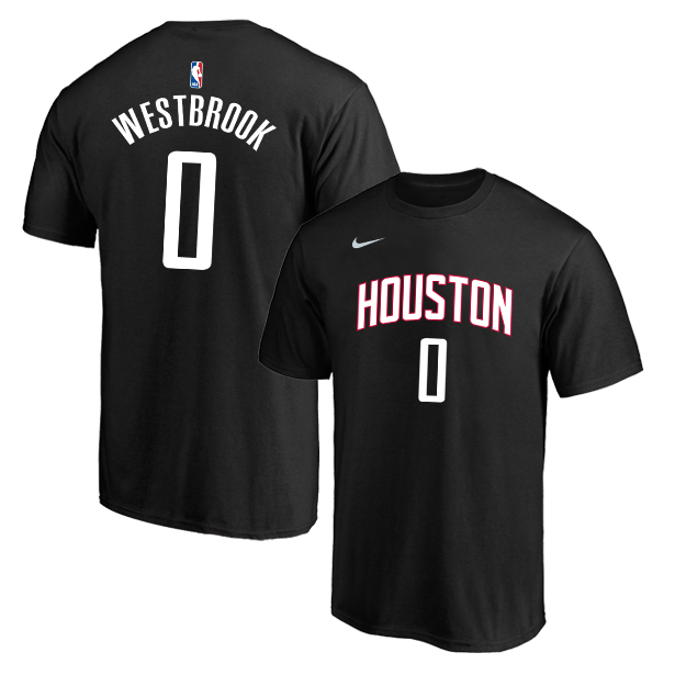 Houston Rockets 0 Russell Westbrook Black Nike T-Shirt
