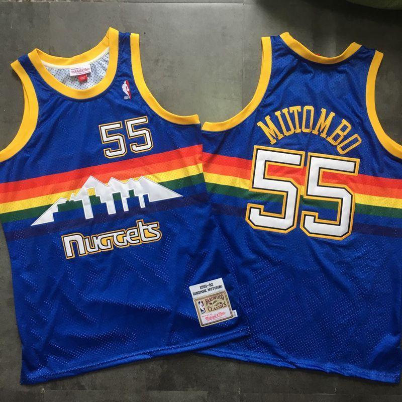 Nuggets 55 Dikembe Mutombo Blue 1991-92 Hardwood Classics Swingman Jersey