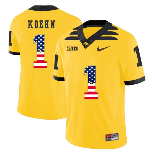 Iowa Hawkeyes 1 Marshall Koehn Pasat Yellow USA Flag College Football Jersey