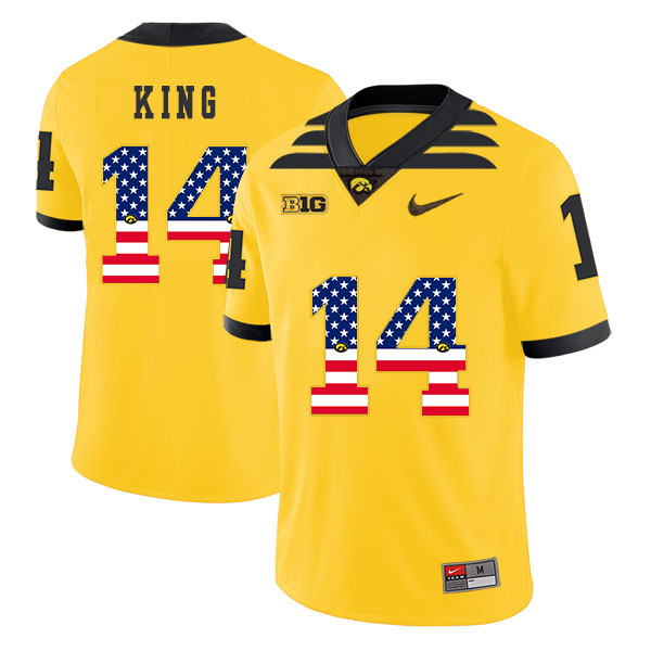 Iowa Hawkeyes 14 Desmond King Yellow USA Flag College Football Jersey