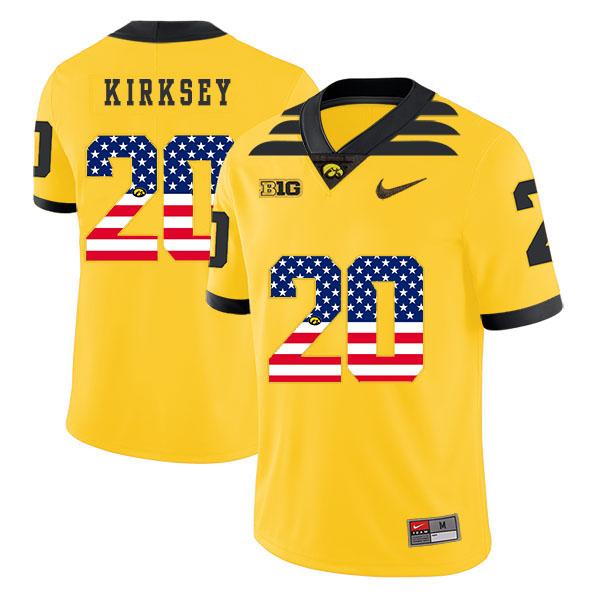 Iowa Hawkeyes 20 Christian Kirksey Yellow USA Flag College Football Jersey