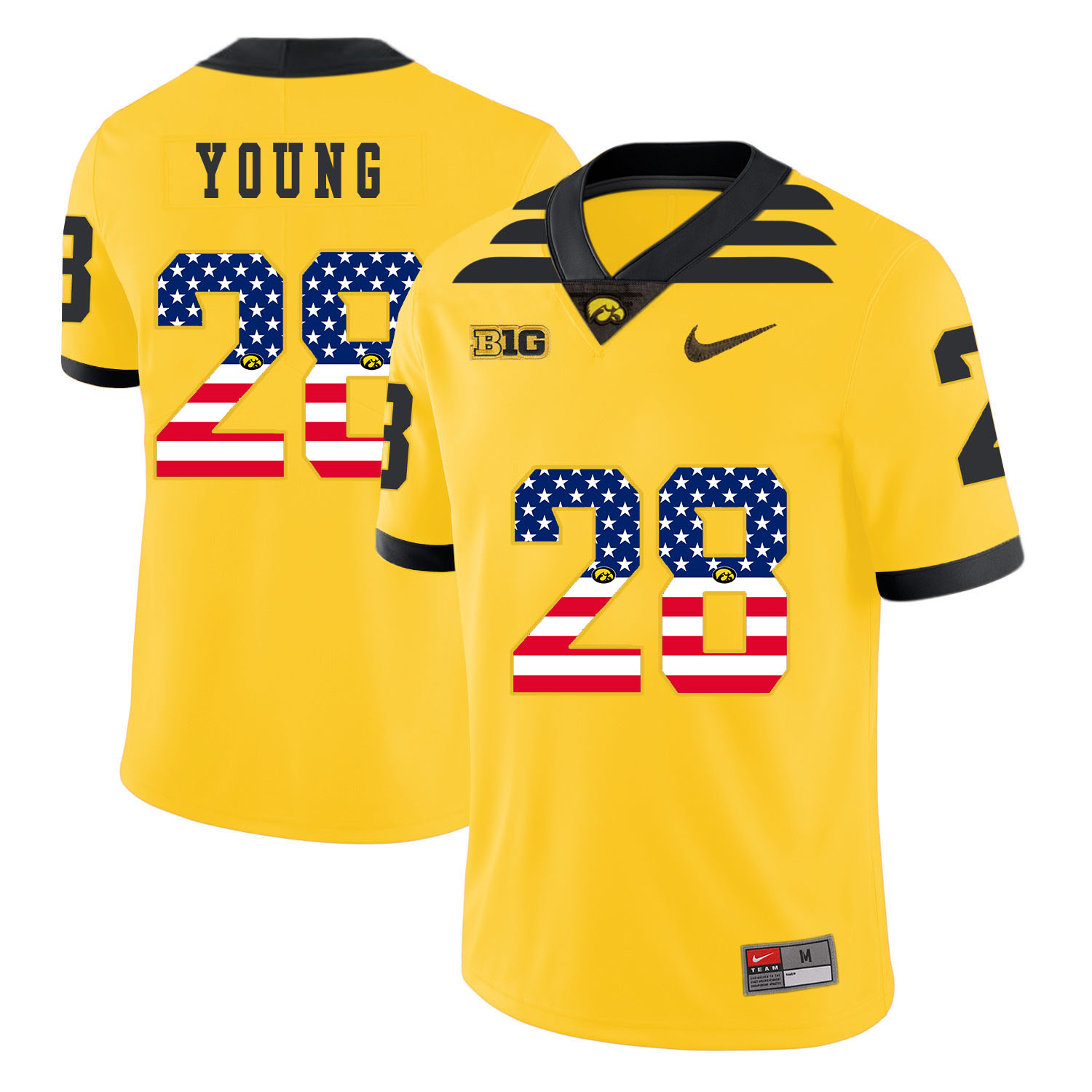 Iowa Hawkeyes 28 Toren Young Yellow USA Flag College Football Jersey