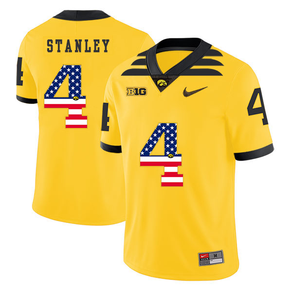 Iowa Hawkeyes 4 Nathan Stanley Yellow USA Flag College Football Jersey