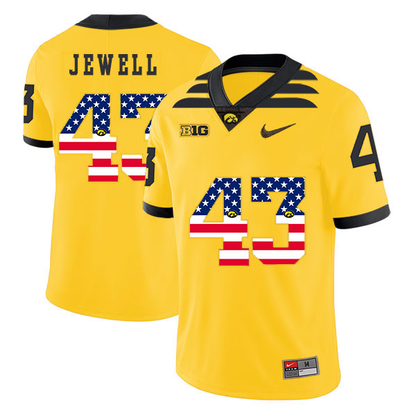 Iowa Hawkeyes 43 Josey Jewell Yellow USA Flag College Football Jersey