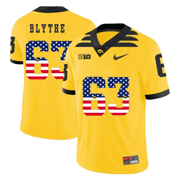 Iowa Hawkeyes 63 Austin Blythe Yellow USA Flag College Football Jersey