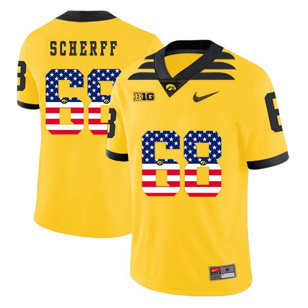 Iowa Hawkeyes 68 Brandon Scherff Yellow USA Flag College Football Jersey