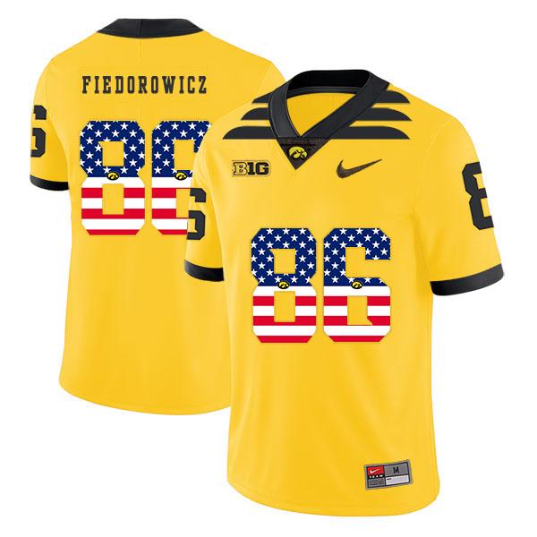 Iowa Hawkeyes 86 C.J. Fiedorowicz Yellow USA Flag College Football Jersey