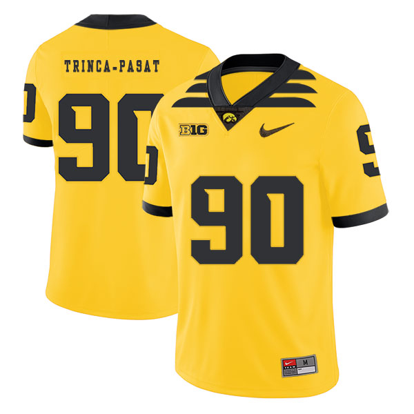 Iowa Hawkeyes 90 Louis Trinca-Pasat Yellow College Football Jersey