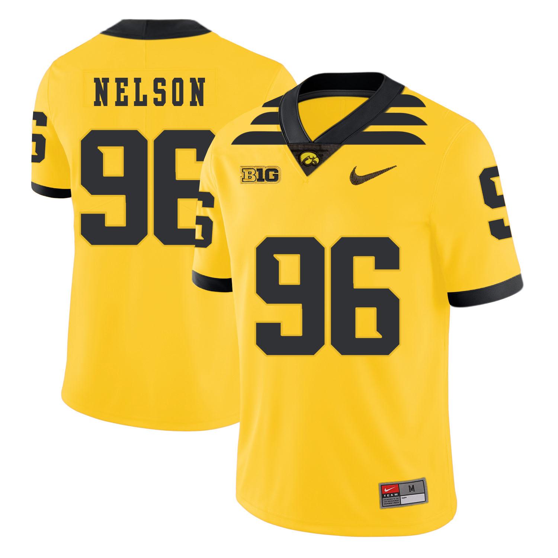 Iowa Hawkeyes 96 Matt Nelson Pasat Yellow College Football Jersey