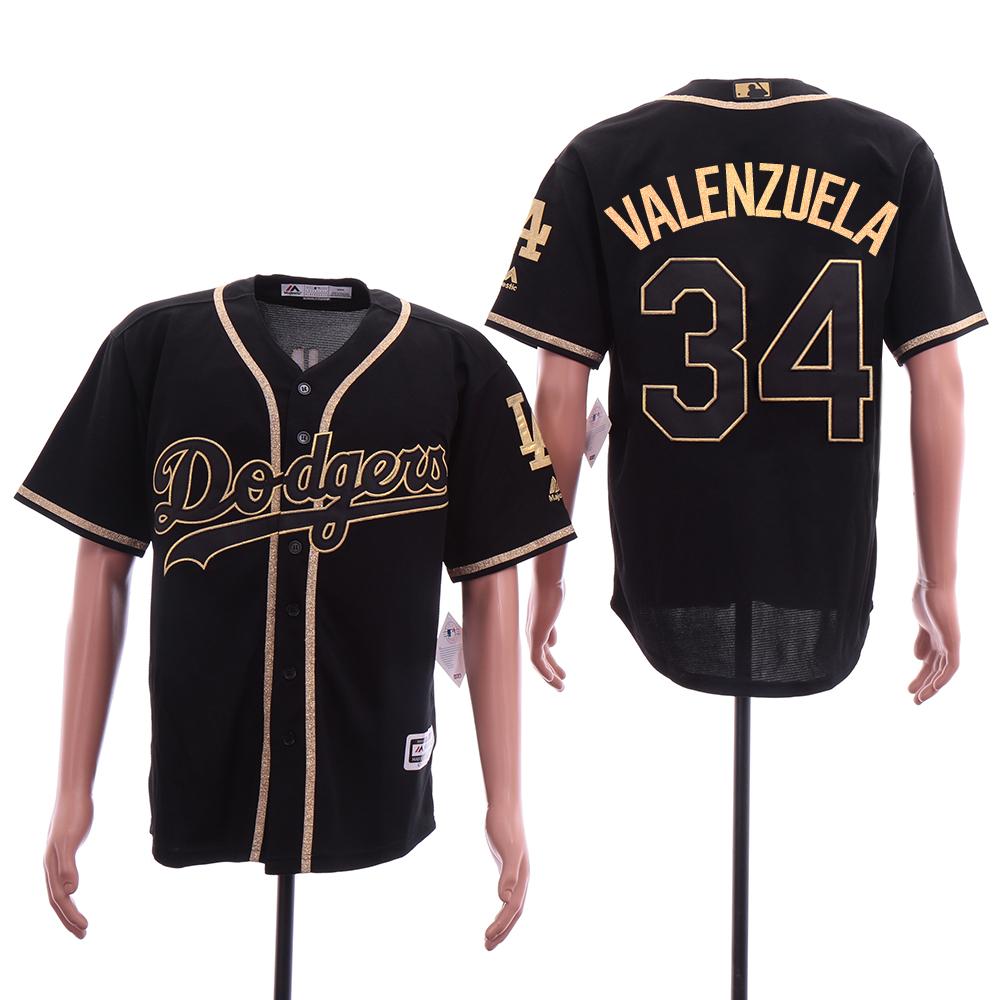 Dodgers 34 Fernando Valenzuela Black Gold Cool Base Jersey