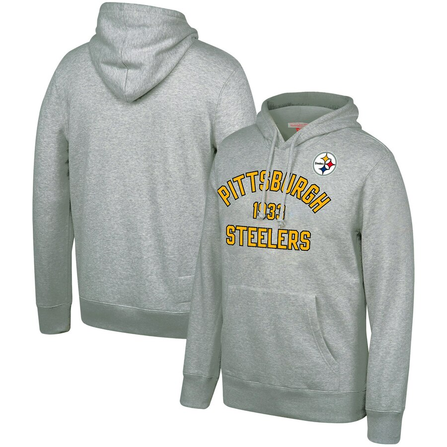 Pittsburgh Steelers Mitchell & Ness Team History Pullover Hoodie Gray