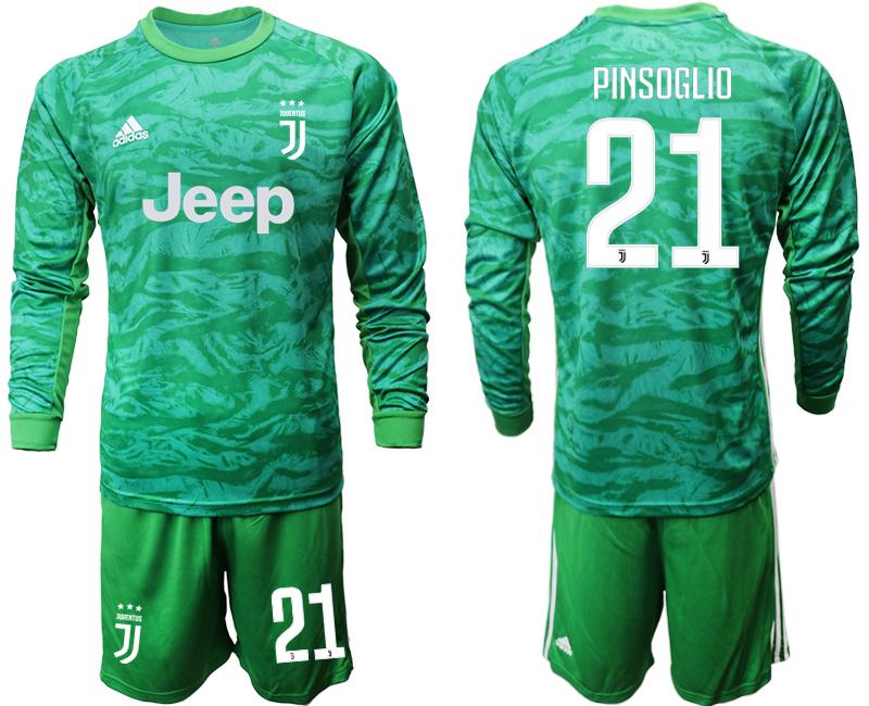 2019-20 Juventus 21 PINSOGLIO Green Long Sleeve Goalkeeper Soccer Jersey
