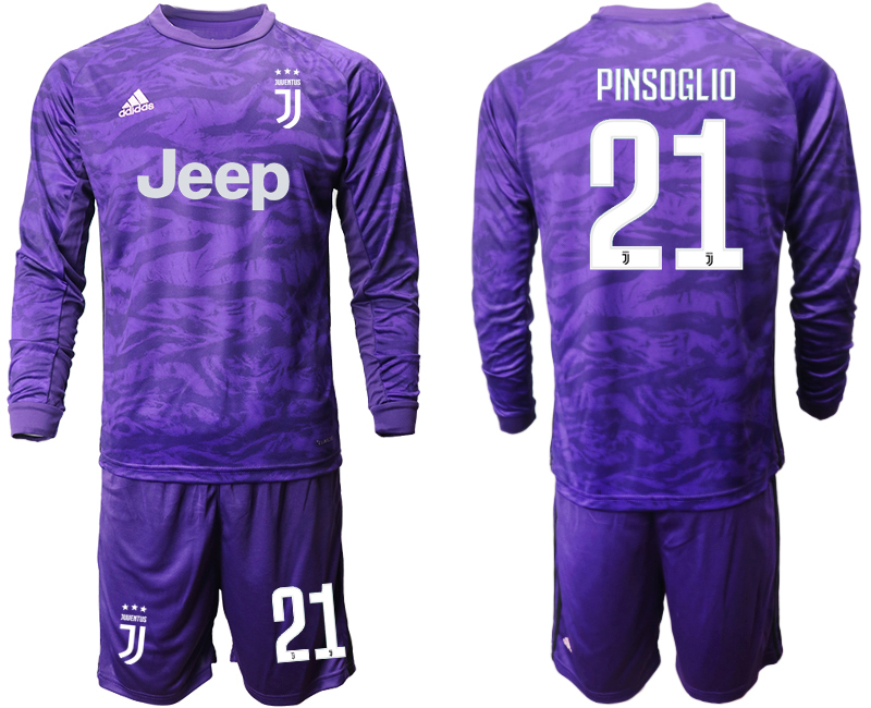 2019-20 Juventus 21 PINSOGLIO Purple Long Sleeve Goalkeeper Soccer Jersey