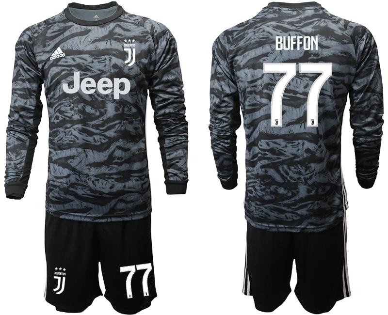 2019-20 Juventus 77 BUFFON Black Long Sleeve Goalkeeper Soccer Jersey