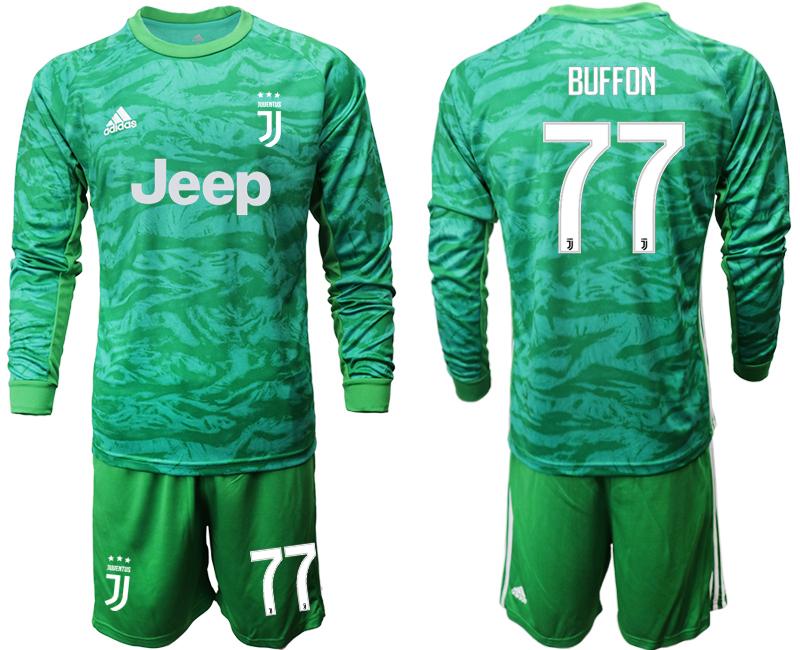 2019-20 Juventus 77 BUFFON Green Long Sleeve Goalkeeper Soccer Jersey