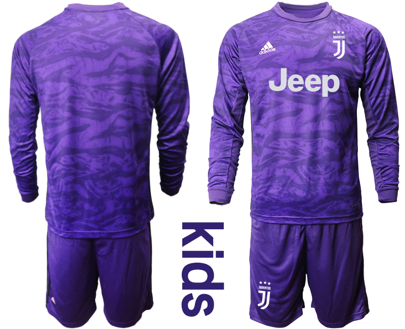 2019-20 Juventus Purple Long Sleeve Youth Goalkeeper Soccer Jersey