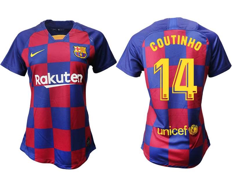 2019-20 Barcelona 14 COUTINHO Home Women Soccer Jersey