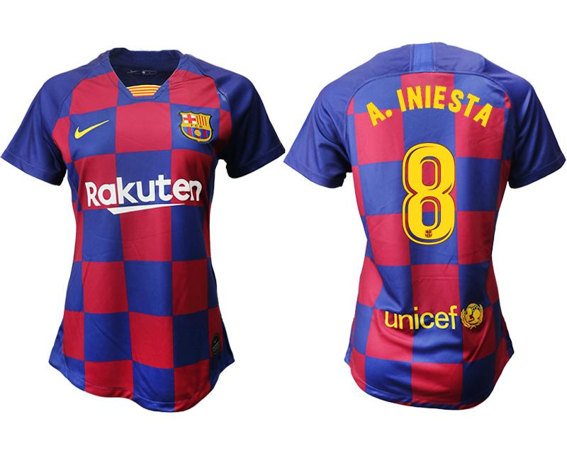 2019-20 Barcelona 8 A.INIESTA Home Women Soccer Jersey