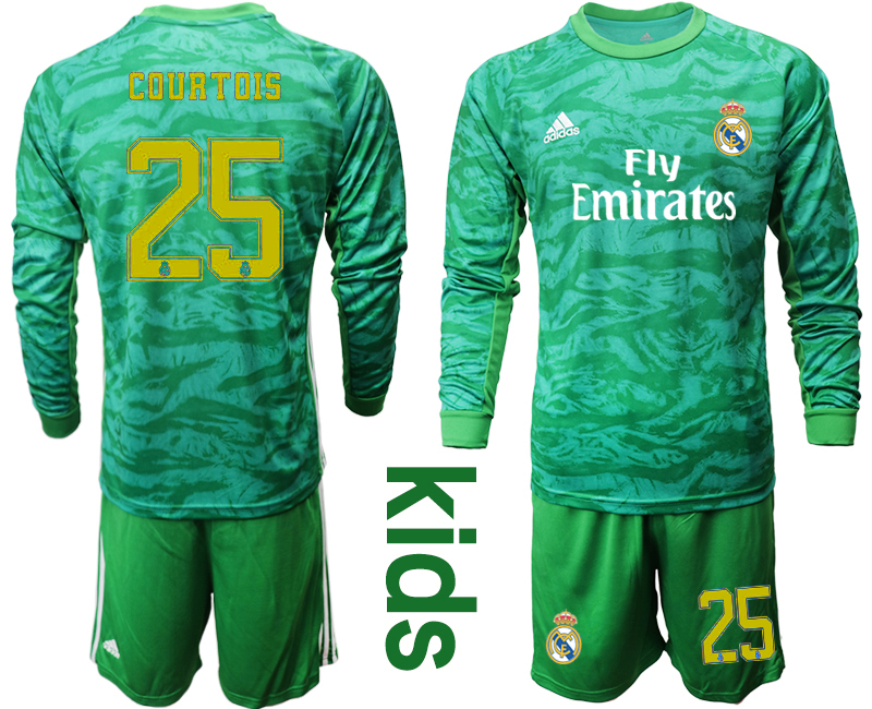 2019-20 Real Madrid 25 COURTOIS Green Long Sleeve Youth Goalkeeper Soccer Jersey