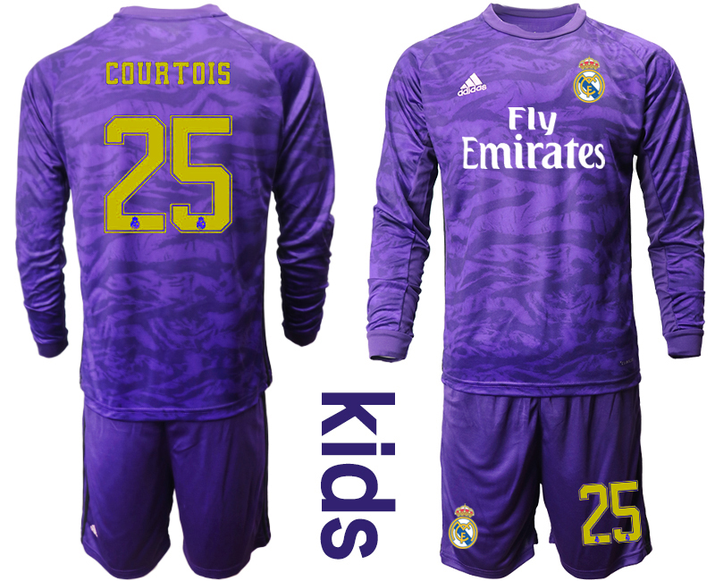 2019-20 Real Madrid 25 COURTOIS Purple Long Sleeve Youth Goalkeeper Soccer Jersey