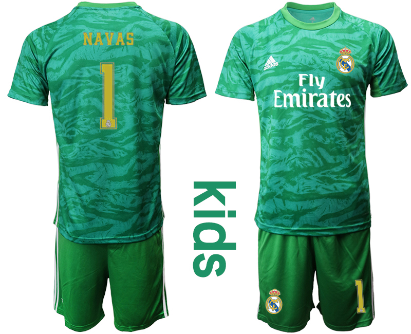 2019-20 Real Madrid 1 NAVAS Green Youth Goalkeeper Soccer Jersey