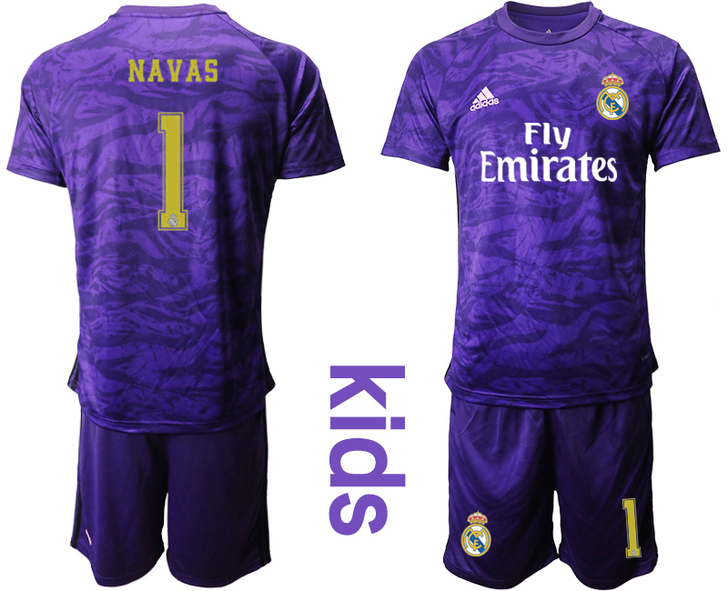 2019-20 Real Madrid 1 NAVAS Purple Youth Goalkeeper Soccer Jersey