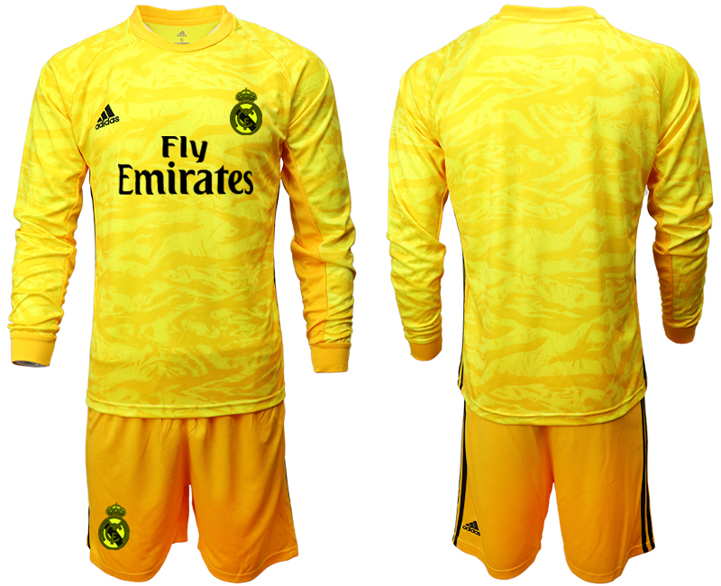 2019-20 Real Madrid Yellow Long Sleeve Goalkeeper Soccer Jersey