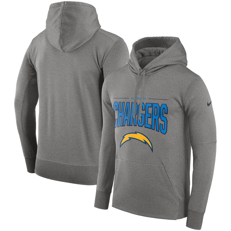 Los Angeles Chargers Nike Sideline Property of Performance Pullover Hoodie Gray