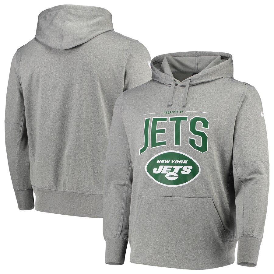 New York Jets Nike Sideline Property Of Performance Pullover Hoodie Gray