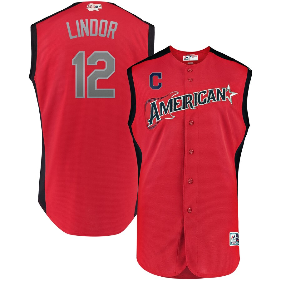 American League 12 Francisco Lindor Red Youth 2019 MLB All-Star Game Workout Player Jersey