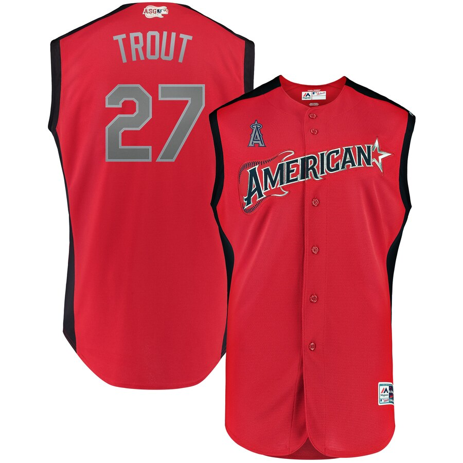 American League 27 Mike Trout Red Youth 2019 MLB All-Star Game Workout Player Jersey