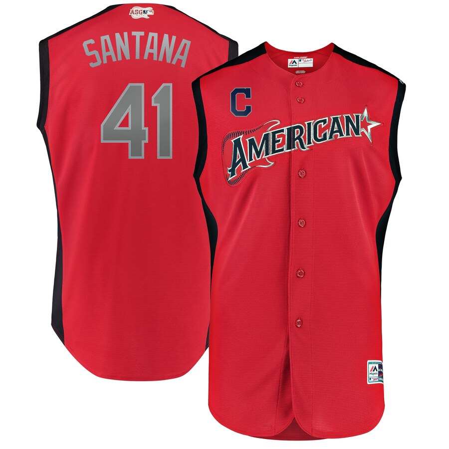 American League 41 Carlos Santana Red Youth 2019 MLB All-Star Game Workout Player Jersey