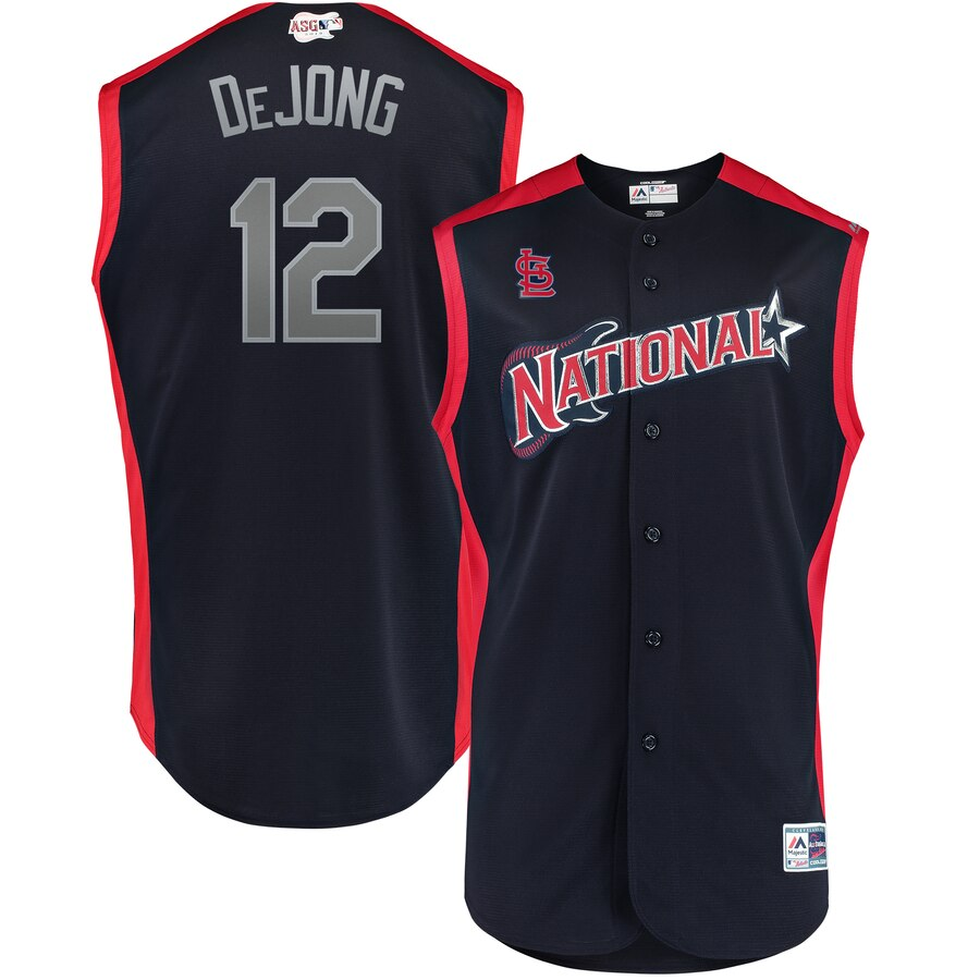 National League 12 Paul DeJong Navy Youth 2019 MLB All-Star Game Workout Player Jersey