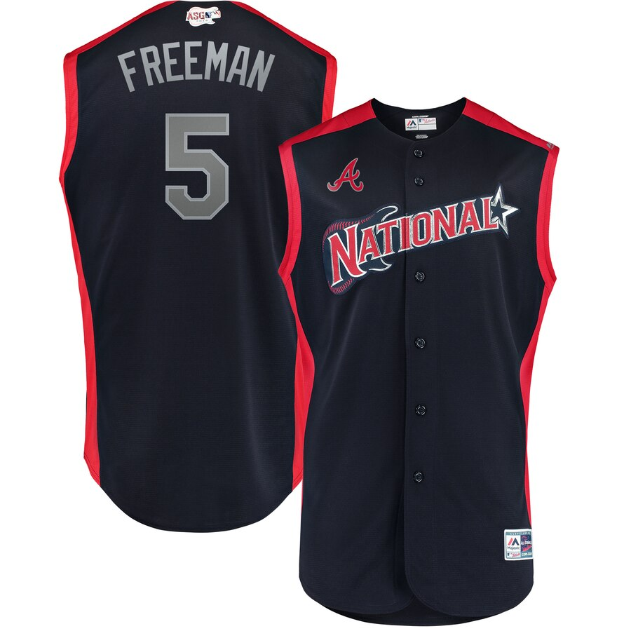 National League 5 Freddie Freeman Navy Youth 2019 MLB All-Star Game Workout Player Jersey
