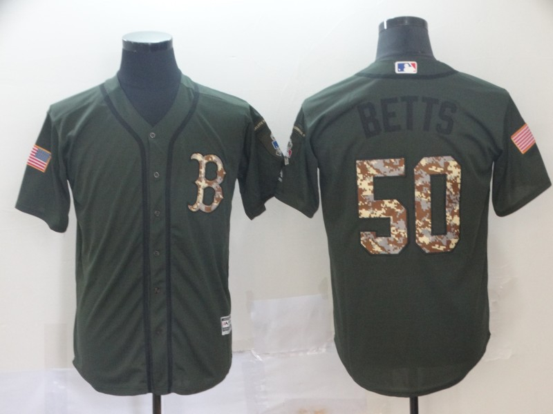 Red Sox 50 Mookie Betts Olive Camo Salute To Service Cool Base Jersey