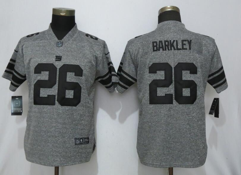 Nike Giants 26 Saquon Barkley Gray Gridiron Gray Women Vapor Untouchable Limited Jersey