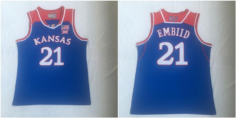 Kansas Jayhawks 21 Joel Embiid Blue College Basketball Jersey