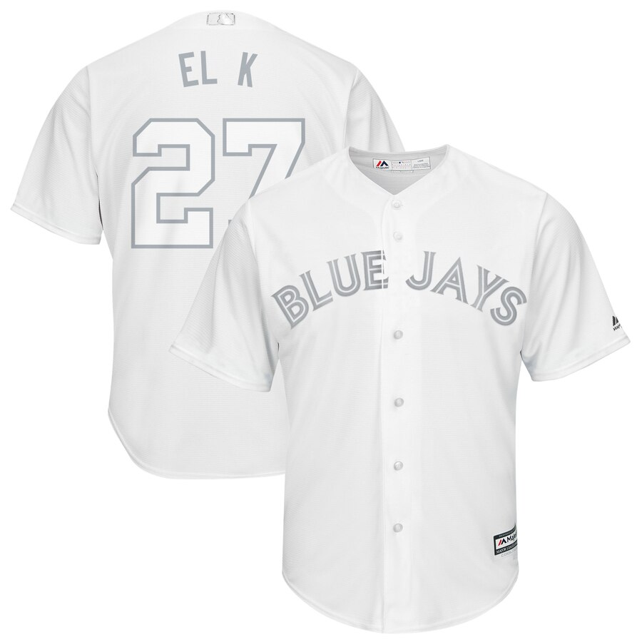 "Blue Jays 27 Vladimir Guerrero Jr. ""El K"" White 2019 Players' Weekend Player Jersey"