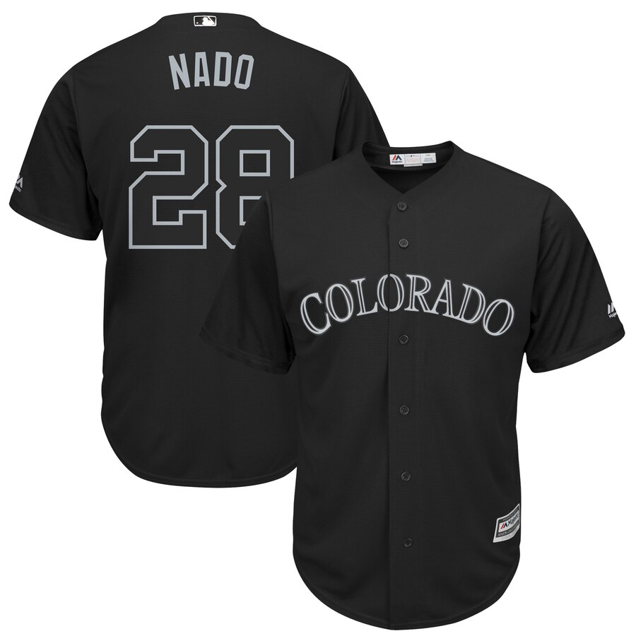 "Rockies 28 Nolan Arenado ""Nado"" Black 2019 Players' Weekend Player Jersey"