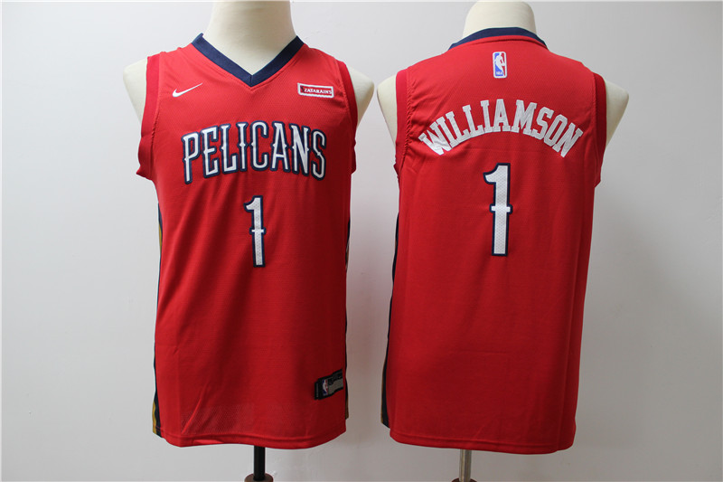 Pelicans 1 Zion Williamson Red Youth Nike Swingman Jersey