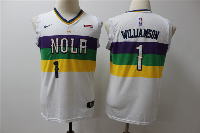 Pelicans 1 Zion Williamson White Youth City Edition Nike Swingman Jersey