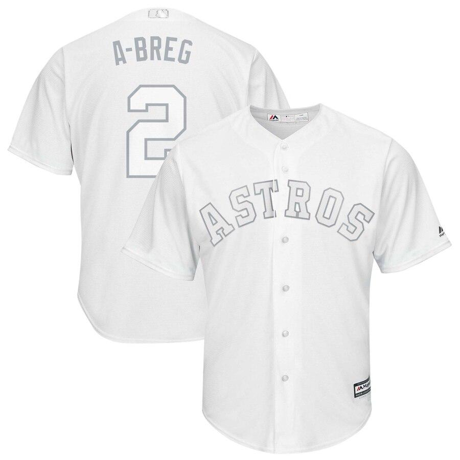 "Astros 2 Alex Bregman ""A-Breg"" White 2019 Players' Weekend Player Jersey"