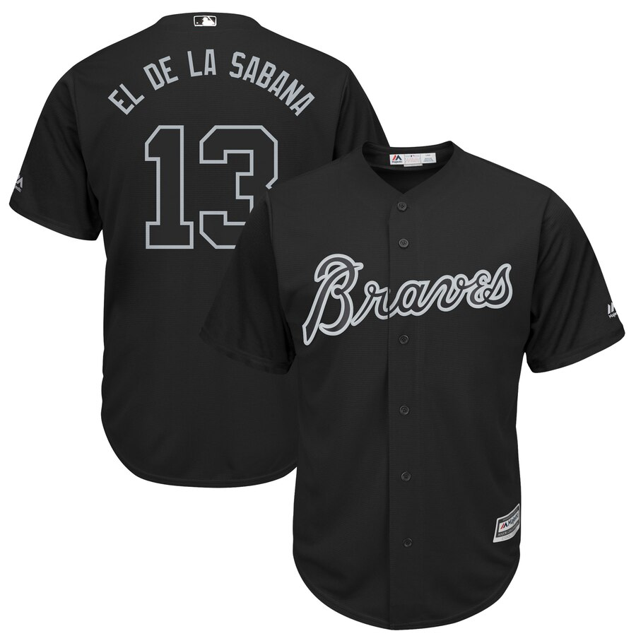 "Braves 13 Ronald Acuna Jr ""El De La Sabana"" Black 2019 Players' Weekend Player Jersey"