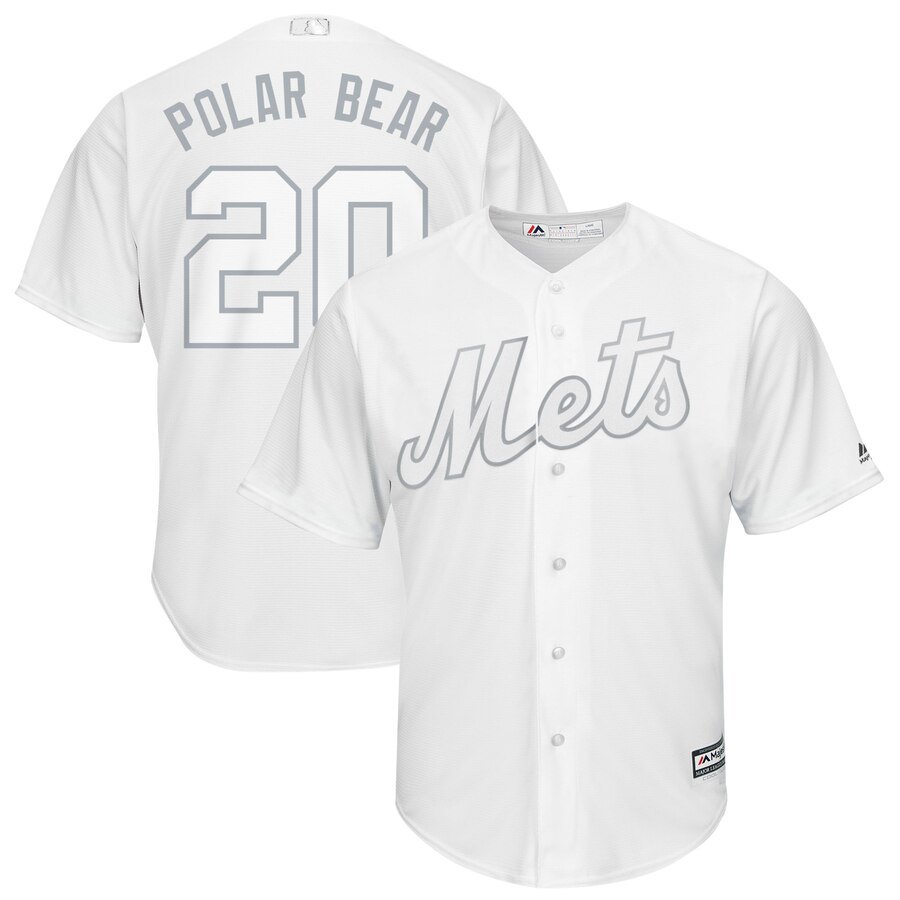 "Mets 20 Pete Alonso Polar ""Bear"" White 2019 Players' Weekend Player Jersey"