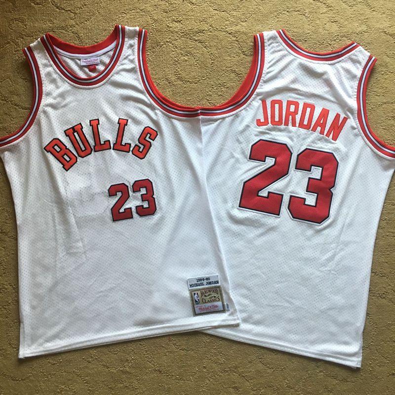 Bulls 23 Michael Jordan White 1984-85 Hardwood Classics Mesh Jersey