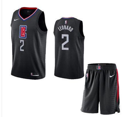 Clippers 2 Kawhi Leonard Black City Edition Nike Swingman Jersey(With Shorts)