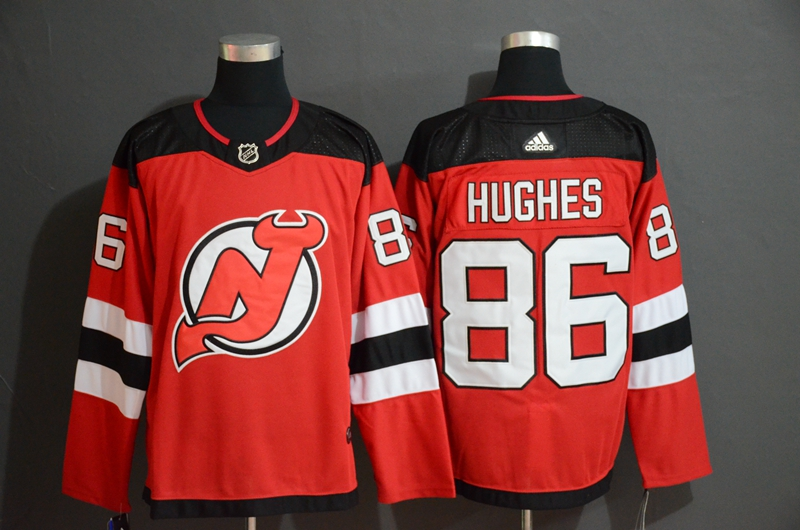 Devils 86 Jack Hughes Red Adidas Jersey