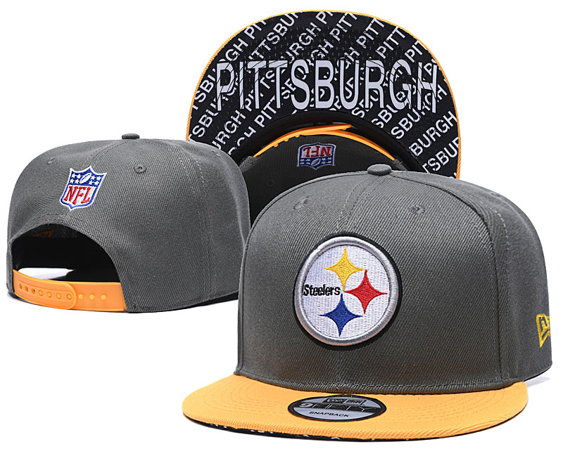 Steelers Team Logo Gray Yellow Adjustable Hat TX